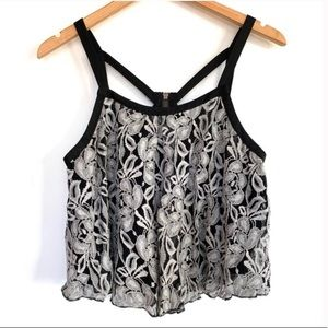 Free People Lace Swing Cage Tank Top Embroidered